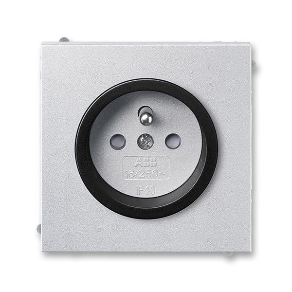 Zásuvka jednonásobná s ochranným kolíkom, s clonkami, Neo® Tech, titánová / onyx