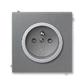 Zásuvka jednonásobná s ochranným kolíkom, s clonkami, Neo® Tech, oceľová / titánová