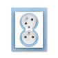 Zásuvka dvojnásobná s ochrannými kolíkmi, s clonkami, s natočenou dutinou, Neo®, biela / ľadová modrá