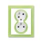 Zásuvka dvojnásobná s ochrannými kolíkmi, s clonkami, s natočenou dutinou, Neo®, biela / ľadová zelená