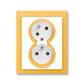 Zásuvka dvojnásobná s ochrannými kolíkmi, s clonkami, s natočenou dutinou, Neo®, biela / ľadová oranžová