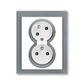 Zásuvka dvojnásobná s ochrannými kolíkmi, s clonkami, s natočenou dutinou, Neo®, biela / ľadová šedá