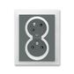 Zásuvka dvojnásobná s ochrannými kolíkmi, s clonkami, s natočenou dutinou, Neo®, grafitová / ľadová biela