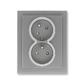 Zásuvka dvojnásobná s ochrannými kolíkmi, s clonkami, s natočenou dutinou, Neo® Tech, oceľová / titánová