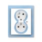 Zásuvka dvojnásobná s ochrannými kolíkmi, s clonkami, s natočenou dutinou, s ochranou pred prepätím, Neo®, biela / ľadová modrá