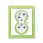 Zásuvka dvojnásobná s ochrannými kolíkmi, s clonkami, s natočenou dutinou, s ochranou pred prepätím, Neo®, biela / ľadová zelená
