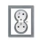 Zásuvka dvojnásobná s ochrannými kolíkmi, s clonkami, s natočenou dutinou, s ochranou pred prepätím, Neo®, biela / ľadová šedá