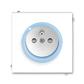 Zásuvka jednonásobná s ochranným kolíkom, s clonkami, s ochranou pred prepätím, Neo®, biela / ľadová modrá