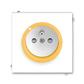 Zásuvka jednonásobná s ochranným kolíkom, s clonkami, s ochranou pred prepätím, Neo®, biela / ľadová oranžová