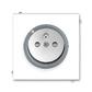 Zásuvka jednonásobná s ochranným kolíkom, s clonkami, s ochranou pred prepätím, Neo®, biela / ľadová šedá
