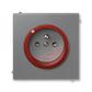 Zásuvka jednonásobná s ochranným kolíkom, s clonkami, s ochranou pred prepätím, Neo® Tech, oceľová / teracotta