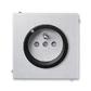 Zásuvka jednonásobná s ochranným kolíkom, s clonkami, s ochranou pred prepätím, Neo® Tech, titánová / onyx