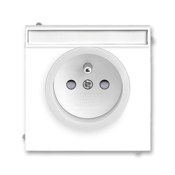 Zásuvka jednonásobná s ochranným kolíkom, s clonkami, s popisovým poľom, Neo®, biela / ľadová biela