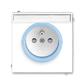 Zásuvka jednonásobná s ochranným kolíkom, s clonkami, s popisovým poľom, Neo®, biela / ľadová modrá