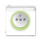 Zásuvka jednonásobná s ochranným kolíkom, s clonkami, s popisovým poľom, Neo®, biela / ľadová zelená