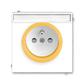 Zásuvka jednonásobná s ochranným kolíkom, s clonkami, s popisovým poľom, Neo®, biela / ľadová oranžová