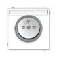 Zásuvka jednonásobná s ochranným kolíkom, s clonkami, s popisovým poľom, Neo®, biela / ľadová šedá