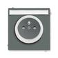 Zásuvka jednonásobná s ochranným kolíkom, s clonkami, s popisovým poľom, Neo®, grafitová / ľadová biela