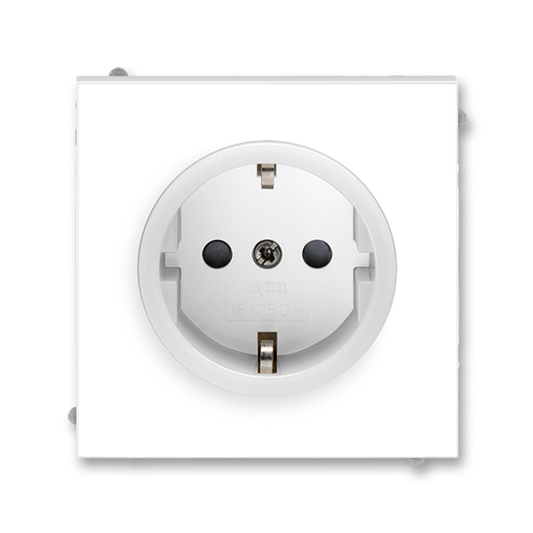 Zásuvka jednonásobná s ochrannými kontaktmi (podľa DIN), s clonkami, Neo®, biela / ľadová biela