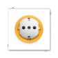 Zásuvka jednonásobná s ochrannými kontaktmi (podľa DIN), s clonkami, Neo®, biela / ľadová oranžová