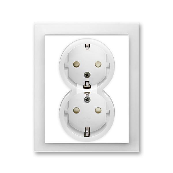Zásuvka dvojnásobná s ochrannými kontaktmi (podľa DIN), s clonkami, Neo®, biela / ľadová biela