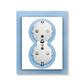 Zásuvka dvojnásobná s ochrannými kontaktmi (podľa DIN), s clonkami, Neo®, biela / ľadová modrá
