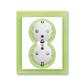 Zásuvka dvojnásobná s ochrannými kontaktmi (podľa DIN), s clonkami, Neo®, biela / ľadová zelená