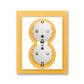 Zásuvka dvojnásobná s ochrannými kontaktmi (podľa DIN), s clonkami, Neo®, biela / ľadová oranžová