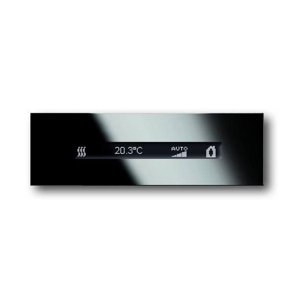 Lišta uzatváracia horná s IR prijímačom, snímačom priblíženia a termostatom s displejom ABB-priOn, priOn, čierne sklo