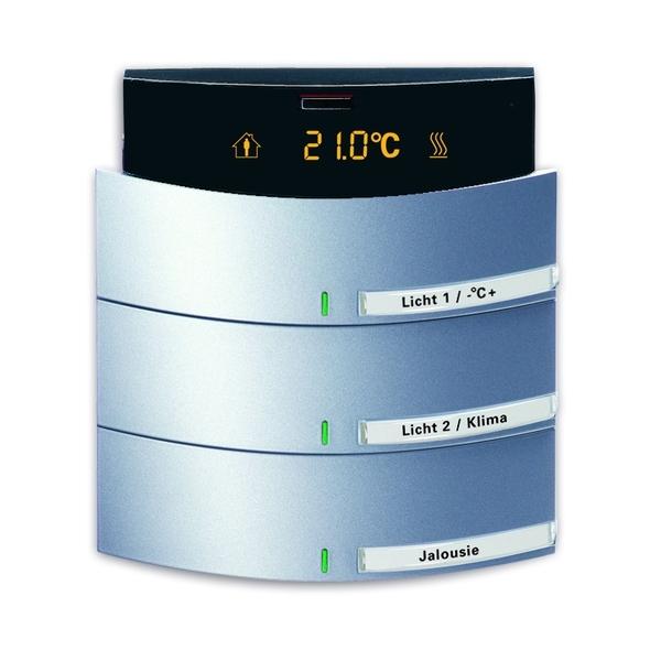 Prvok ovládací 3-/6 násobný kombinovaný, s termostatom, zapustený, Busch-triton®, hliníková strieborná