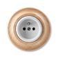 Zásuvka jednonásobná s ochranným kolíkom, Decento®, biela / prírodný buk