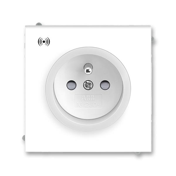 Zásuvka jednonásobná s ochranným kolíkom, s clonkami, s ochranou pred prepätím, Neo®, biela / ľadová biela