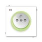 Zásuvka jednonásobná s ochranným kolíkom, s clonkami, s ochranou pred prepätím, Neo®, biela / ľadová zelená