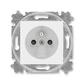 Zásuvka jednonásobná s ochranným kolíkom, s clonkami, Levit®, biela / ľadová biela