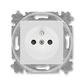 Zásuvka jednonásobná s ochranným kolíkom, s clonkami, Levit®, šedá / biela