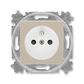 Zásuvka jednonásobná s ochranným kolíkom, s clonkami, Levit®, macchiato / biela