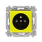 Zásuvka jednonásobná s ochranným kolíkom, s clonkami, Levit®, žltá / dymová čierna