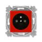 Zásuvka jednonásobná s ochranným kolíkom, s clonkami, Levit®, červená / dymová čierna