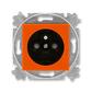 Zásuvka jednonásobná s ochranným kolíkom, s clonkami, Levit®, oranžová / dymová čierna