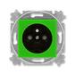 Zásuvka jednonásobná s ochranným kolíkom, s clonkami, Levit®, zelená / dymová čierna