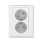 Zásuvka dvojnásobná s ochrannými kolíkmi, s clonkami, s natočenou dutinou, Levit®, biela / ľadová biela