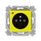 Zásuvka jednonásobná s ochranným kolíkom, s clonkami, s ochranou pred prepätím, Levit®, žltá / dymová čierna