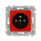 Zásuvka jednonásobná s ochranným kolíkom, s clonkami, s ochranou pred prepätím, Levit®, červená / dymová čierna