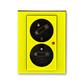Zásuvka dvojnásobná s ochrannými kolíkmi, s clonkami, s natočenou dutinou, s ochranou pred prepätím, Levit®, žltá / dymová čierna