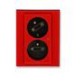 Zásuvka dvojnásobná s ochrannými kolíkmi, s clonkami, s natočenou dutinou, s ochranou pred prepätím, Levit®, červená / dymová čierna