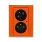 Zásuvka dvojnásobná s ochrannými kolíkmi, s clonkami, s natočenou dutinou, s ochranou pred prepätím, Levit®, oranžová / dymová čierna