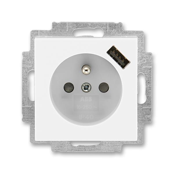 Zásuvka jednonásobná s ochranným kolíkom, s clonkami, s USB nabíjaním, Levit®, biela / ľadová biela