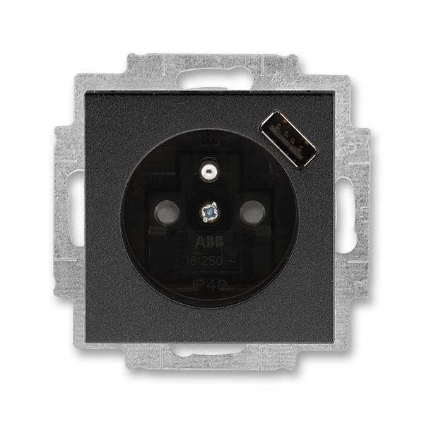 Zásuvka jednonásobná s ochranným kolíkom, s clonkami, s USB nabíjaním, Levit®M, onyx / dymová čierna
