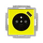 Zásuvka jednonásobná s ochranným kolíkom, s clonkami, s USB nabíjaním, Levit®, žltá / dymová čierna