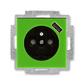 Zásuvka jednonásobná s ochranným kolíkom, s clonkami, s USB nabíjaním, Levit®, zelená / dymová čierna